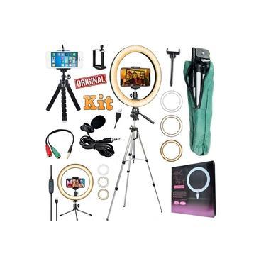 Kit Youtuber Profissional Microfone de Lapela + Tripé 1,30m Câmera Celular + Luz Iluminador Anel Led Ring Light Completo Usb 26cm Original + Suporte Foto Vídeo Selfie Makeup