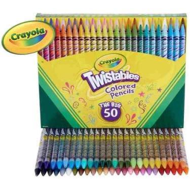 Lápis De Cor Crayola 50 Cores Twistables Não Precisa Apontar
