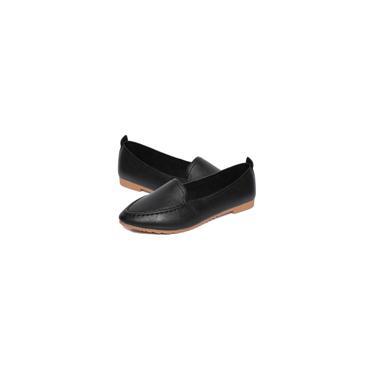 Mulheres sapatos de couro na ponta dos pés Sapatos Femininos Salto respirável planas sapatas da senhora