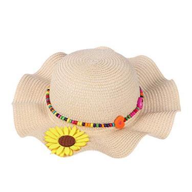 1 peça chapéu de sol infantil chapéu de palha chapéu de praia verão contas de girassol para crianças (bege)