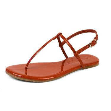 Sandália Rasteira Mercedita Shoes Verniz Borgonha Ultra Macia Vermelha AREIA, GELO, BORGONHA ,CARAMELO, LAVANDA, AZUL MARINHO, AZUL DENIN, MARSALA, OPALA, PRETO, UVA, VERDE ÁGUA, PRATA, DOURADA feminino