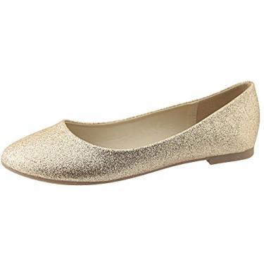 Sapatilhas de balé femininas clássicas com bico redondo da Bella Marie, Dourado, 9