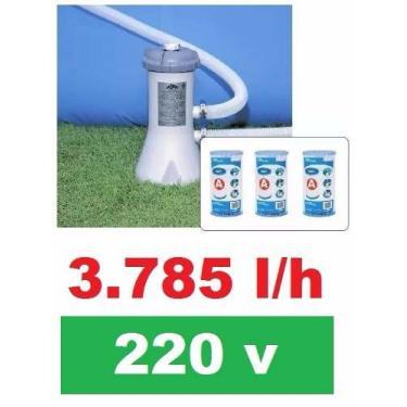 Bomba Filtrante Piscina Intex 3785 L/H 220v + 03 Filtros ( 2 + 1 )
