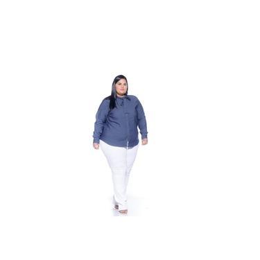 Calça Flare Sarja Branca Feminina Plus Size 3174