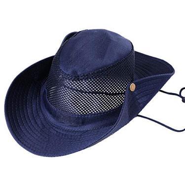 Wpond Chapéu de pescaria para escalada ao ar livre acampamento chapéu de malha com aba grande camuflagem, chapéu de sol para viagem azul marinho M