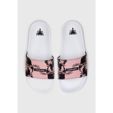 Rasteira Slide Cavalera Estampada Branco/Rosa Cavalera 63040237 feminino