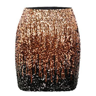 Maner – Saia feminina de paetê elástica e brilhante para festa à noite, Light Brown/Coffee/Black, X-Small