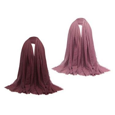 Esquirla Cachecol para Mulheres Enrugada Muçulmana Hijab Cachecol Cachecol Longo Envoltório Rosa