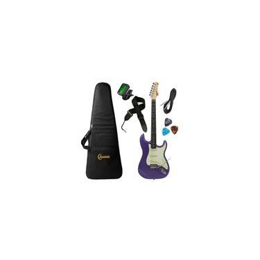 Imagem de Kit Guitarra Tagima TG500 Metallic Purple Roxa mpp Strato Regulada com Acessórios