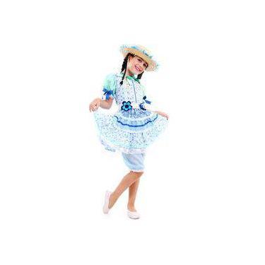 Fantasia De Festa Junina Caipira Infantil Vestido Flor Azul 8bdc8b0e188