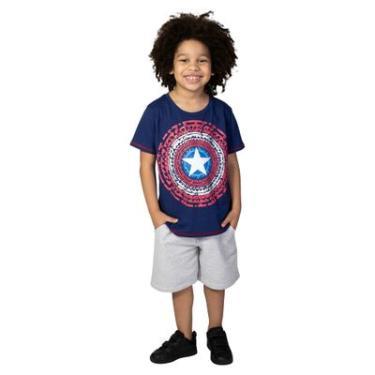 1d4d8e2991 Camiseta Manga Curta - Meia Malha - Azul Marinho - Marvel - Capitão América  - 10