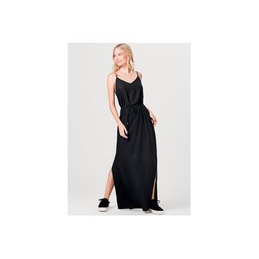 Vestido Básico Longo Com Fendas Laterais - Hering