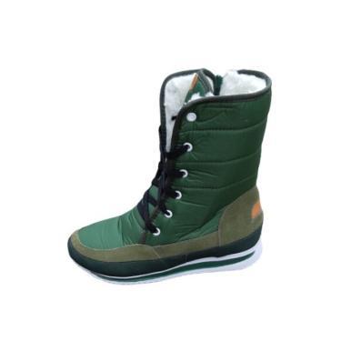 Bota Forrada Andarilha Neve e Frio Cadarço Verde Militar  feminino