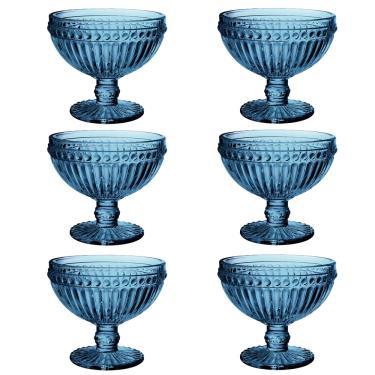 Jogo de taças para sobremesa em vidro Lyor Empire 6 peças 300ml azul