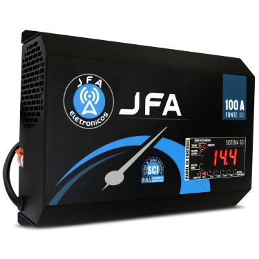 Fonte Automotiva JFA 100A Amperes 4400W Carregador Bateria Bivolt Automático Voltímetro Amperímetro