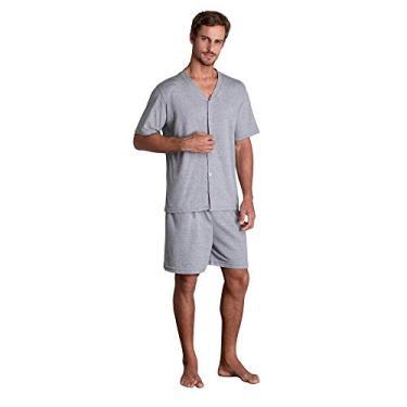 Pijama Lupo Masculino Curto Botoes (Adulto) Tamanho: P   Cor: Mescla Cinza