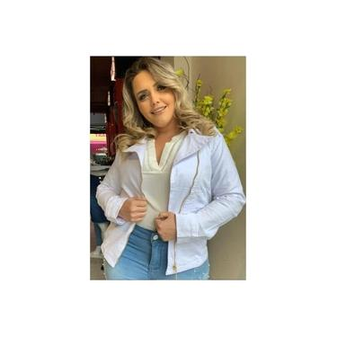 Jaqueta Jeans Branca com detalhes ziper dourado