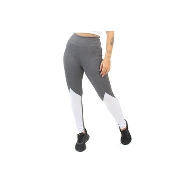Imagem de Calça Legging Fitness Cinza Detalhe Branco Feminino GR Esporte