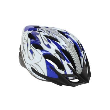 Capacete Ciclista Tamanho G 58-60 High One Azul Com Branco E Prata