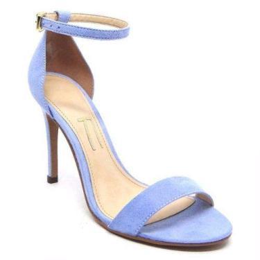 Sandalia Azul Bebe Claro Camurça Salto Alto Fino Agulha Tira