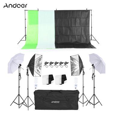 Imagem de Kit de fotografia andoer com sombrinha, suporte de luz suave para cenário, lâmpada softbox, suporte