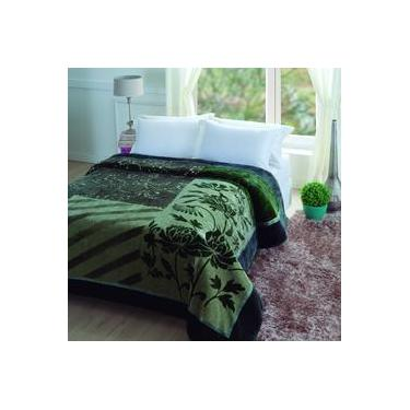 daa0062923 Cobertor Casal Microfibra 1 Peça Raschel Tuily Jolitex Verde