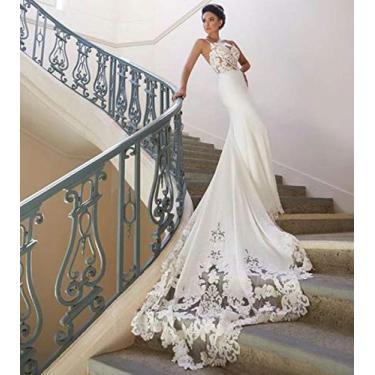 Vestido De Noiva Semi Sereia Cetim Super Luxo Cauda Longa (MARFIM)