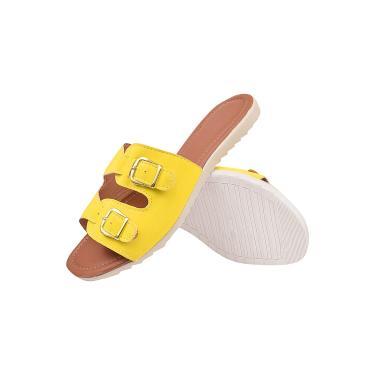 Imagem de Rasteira Feminina Slide Fivela Latikas Shoes Amarelo  feminino