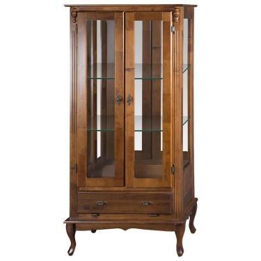 Vitrine 2 Portas com espelho e Prateleiras de vidro Pés Luis XV- Wood Prime MY 11483