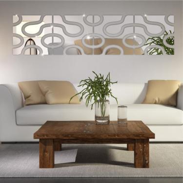 Kit 4 Módulos De Espelho Acrílico Decorativo Abstrato