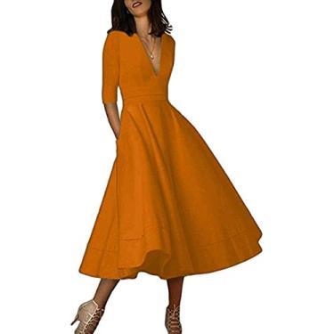 Hajotrawa vestido longo feminino com decote em V profundo, manga 3/4, vestido longo com bolsos para coquetel, festa flare retrô plissado, Bronze, S