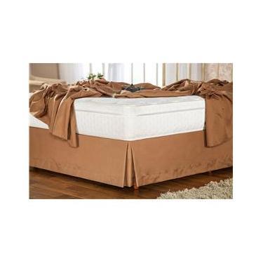 Imagem de Saia para Cama Box Solteiro Plumasul Soft Touch em Poliéster/ Microfibra 300 Fios - Café