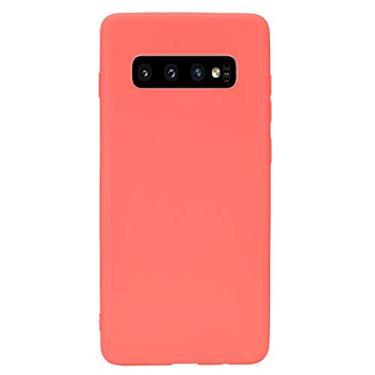Capa para Galaxy S10+, Shunda, ultrafina, de silicone TPU macio, fosco, à prova de choque, capa protetora para celular para Samsung Galaxy S10+/S10 Plus - Vermelho