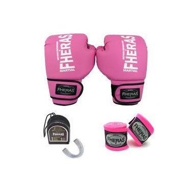 Kit Boxe Muay Thai Fheras Luva Bandagem Bucal 14oz Rosa