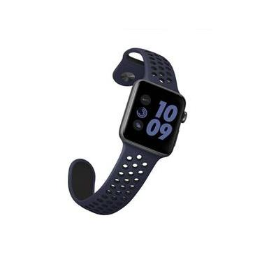 Pulseira Sport Silicone Nk Furo Para Apple Watch 1 2 3 4- 42/44Mm - Azul E Preto
