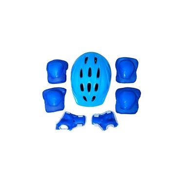 Kit Capacete Joelheira Cotoveleira Munhequeira Azul Infanto