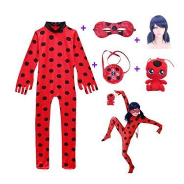 Imagem de Fantasia Zuunky Compatível com Conjunto Completo Fantasia Ladybug Feminina Peruca Bolsa (G)