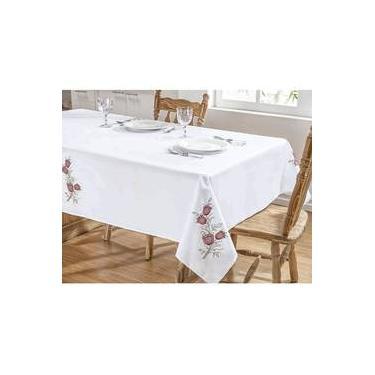 Imagem de Toalha De Mesa Bordada 1,40m X 1,40m Primavera Branco