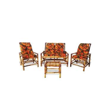 Conjunto Sofá De Área Bambu 4 Lugares De Fabricação 100% Artesanal - 1 Sofá + 2 Cadeiras + 1 Mesa n:41