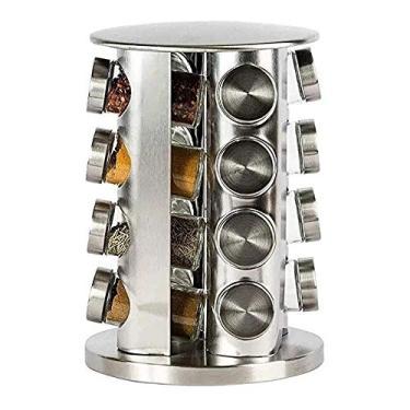 Imagem de Porta Condimentos e Tempero 16 Potes de Vidro com Tampa Inox