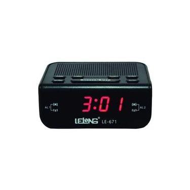 Rádio relógio digital com despertador Lelong 671
