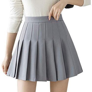 Saia plissada de cintura alta para meninas, saia simples, xadrez, evasê, mini saia, patinadora, tênis, saias, saias, shorts com forro, Cinza, S