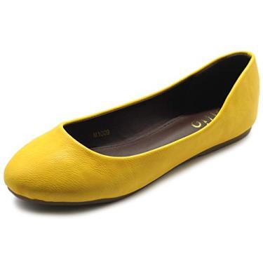 Sapatilha feminina Ollio Ballet básica leve confortável salto baixo plana, Amarelo, 10