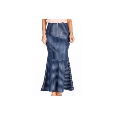 Saia Longa Azul Marinho ListradaDyork Jeans
