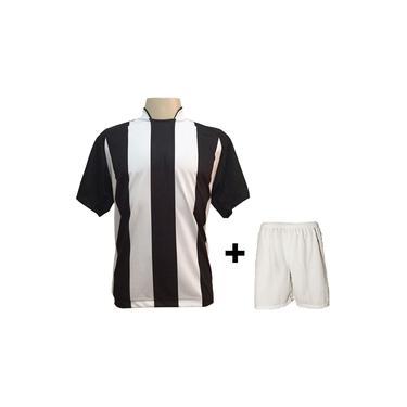 Uniforme Esportivo com 12 camisas modelo Milan Preto/Branco + 12 calções modelo Madrid Branco +