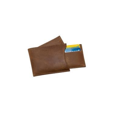Carteira Masculina Couro Porta Cartão Removível Fóssil Canela 046