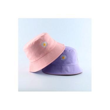 Bone Chapeu Bucket Hat Girassol Margarida Dupla Face Rosa com Roxo