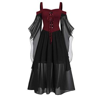 Vestidos góticos para mulheres plus size de renda cruzada camiseta vestido manga borboleta irregular cosplay Chaofanjiancai, 1-red, Large