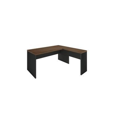 Mesa em L para Escritório 40mm - Linha Essencial - Madeirado/Preto - Stock Móveis - 150x150cm