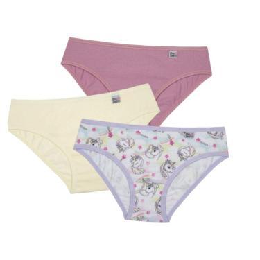Kit de Calcinhas , Infantil com 3 peças, Meninas, Delrio, Multicolorido, P
